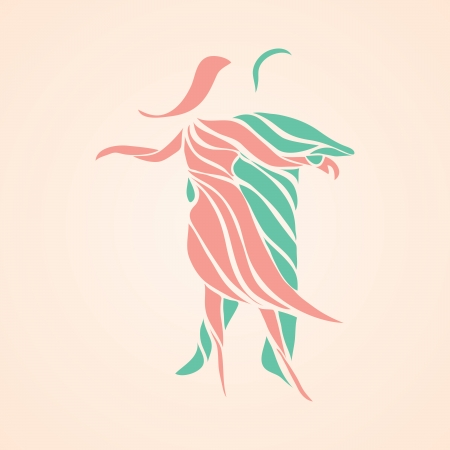 Abstract vector illustration of man and woman couple dancing
