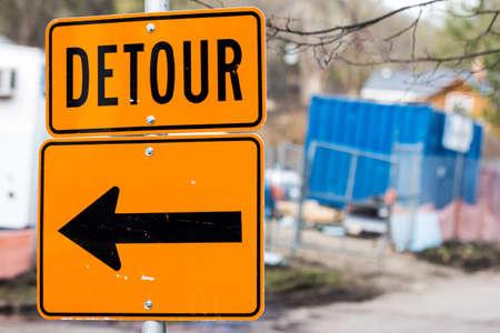 Road Construction Detour Sign with a Left Arrow