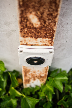 Power button for light on a rusty pole with ivy plant growing on the metal wall and rust on it.