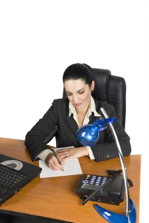 Business woman write a agreement at office photo