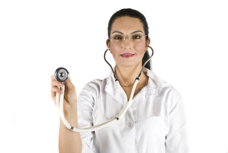 auscultate: Doctor with stethoscope ready for consulting on white background Stock Photo