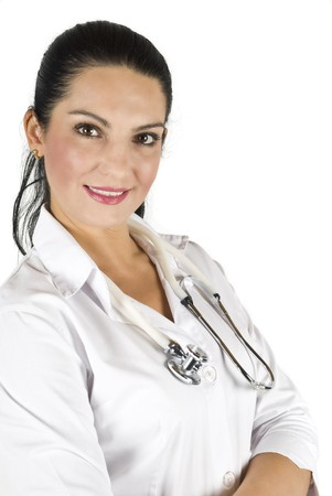 Portrait of smiling woman doctor on white background