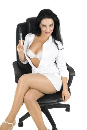 female stripper: Sexy nurse on chair  on white background
