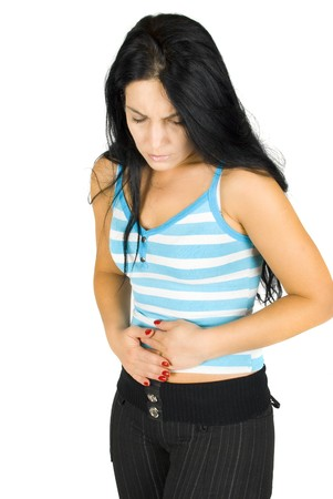Woman with problems stomach ache on white background