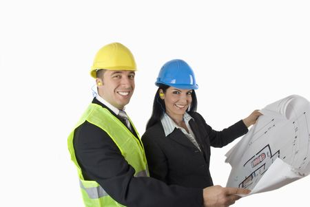 Architect showing at a client the plan for house,both looking at camera smiling Stock Photo - 4183030
