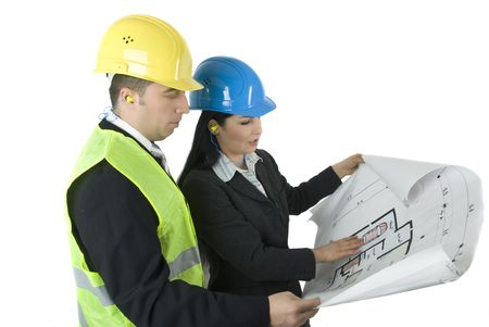 Two young architects looking on house plans Stock Photo - 4191336
