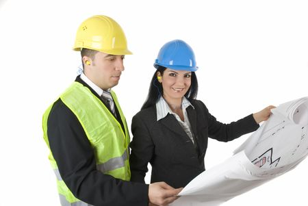 Architect and engineer with house plans isolated on white background photo