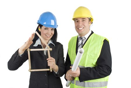 Two very happy architects with projects for house and house symbol Stock Photo - 4204089