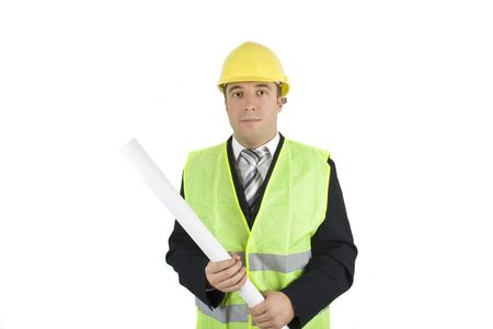 Portrait of young architect or engineer holding a project Stock Photo - 4204091