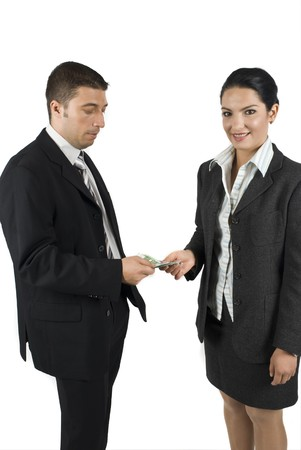 wages: Boss give his secretary the payment or give some money