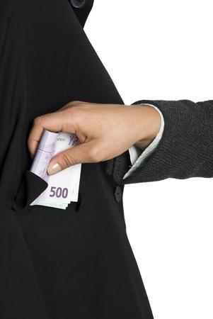 taker: Business man  take some bribe euro money Stock Photo