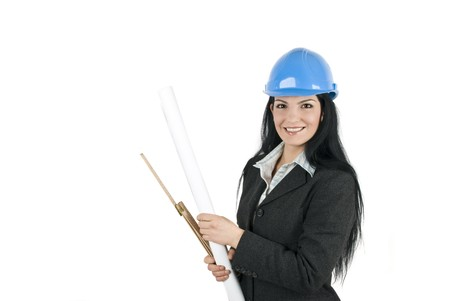 Smiling woman engineer with blue hardhat and project isolated on white background and copy space for text photo