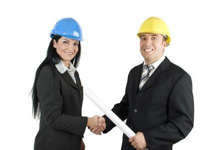 Two young architects  make a deal about a project photo