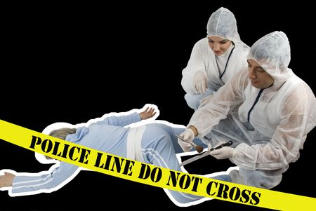 assassinate: Crime scene:Two criminologists in white protective outfit  satisfied because funded the evidence of crime,woman pointing  to imprint knife and they have a conversation Stock Photo