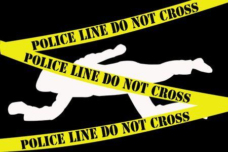 investigators: White dead body silhouette on black background with