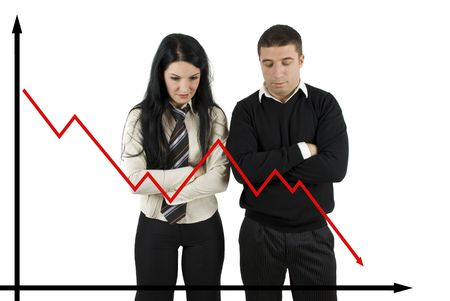 Two disappointed   business people looking down how the quotations  falling Stock Photo - 4224108