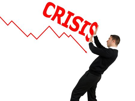 Concept of business man stopping  the financial crisis Stock Photo - 4224113