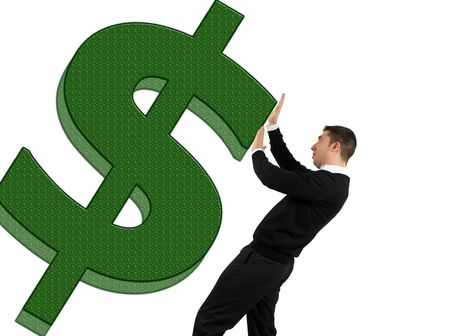 Concept of business man trying  to stop the dollar go down or to stop dollar to crash Stock Photo
