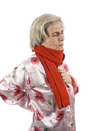 neckcloth: Senior woman having a backache and a chest pain