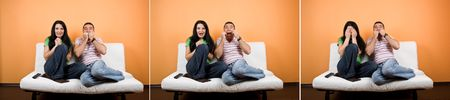 facial gestures: Collage of terrified couple watching TV a horror movie and facial expressions Stock Photo