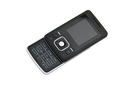Elegant black cell phone isolated on white background photo