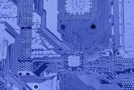 circuitboard: Abstract background with electronic circuit colored in blue Stock Photo