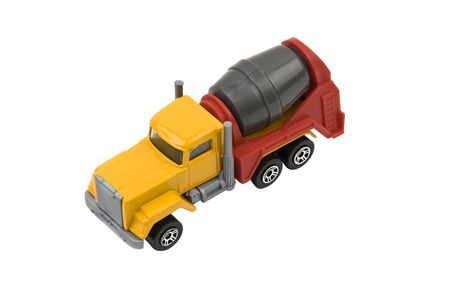 Cement mixer truck toy used in construction  isolated on white background  photo