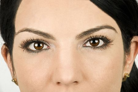 eyes wide: Part of beautiful woman face with brown eyes