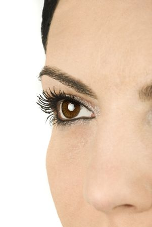 Close-up of beautiful brown eye with long eyelashes photo