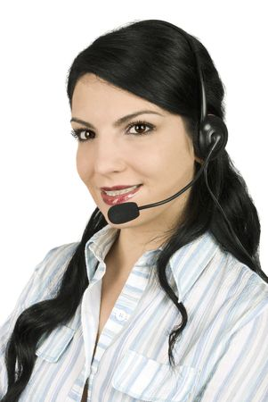 Call center operator beautiful woman  with headset ready to help you photo