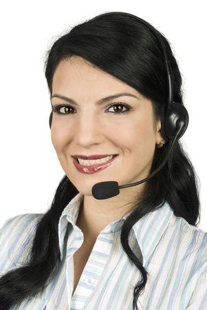 gladly: Retrato de servicio al cliente de la hermosa mujer dispuesta a apoyar a usted