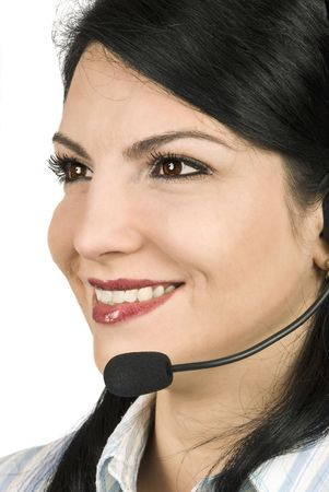Close up of attractive woman face  working like costumer service agent  or helpdesk looking away photo