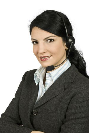costumer: Smile woman costumer support operator in a classic  suit standing with hands crossed