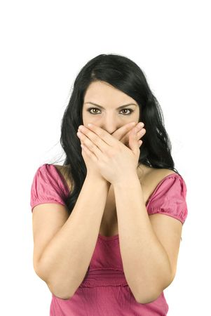 stopping: Woman  hold both hands crossed on mouth to stop her to speak isolated on white background