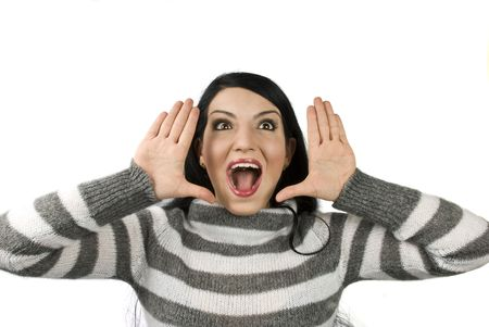 exclaim: Surprised woman with open mouth and with hands up like she exclaim
