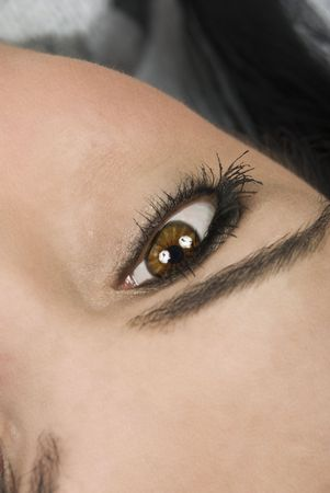 Part of woman face ,close up of brown eye looking up Stock Photo - 4415950