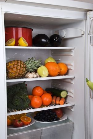 garden stuff: Full open fridge with fresh  fruits and vegetables