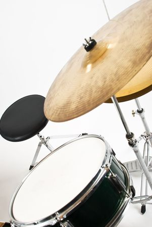Set with cymbal drum and chair indoor shot photo