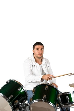 Serious drummer man playing set drums isolated on white background Stock Photo - 4564279