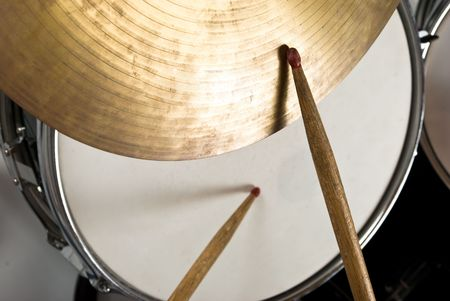 Close up of drum kit with cymbal and drumsticks Stock Photo - 4585528