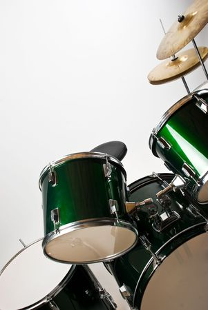 Part of a drum set with cymbal isolated on white background photo