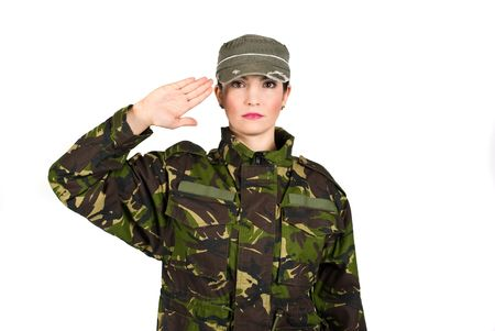 saluting: Woman army soldier saluting isolated on white background Stock Photo