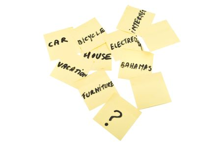 mention: Few yellow post-it notes with different remember things for not forgot to pay them isolated on white background