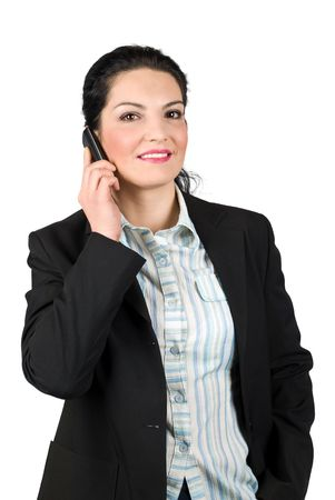 Smiling beautiful business woman talking on cell phone isolated on white background photo
