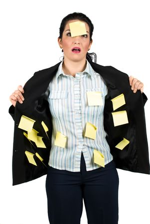 inner wear: Stressed business woman with many yellow notes on her suit and one on her face