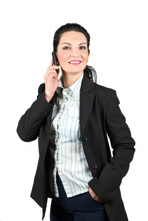 Beautiful smiling business woman talking at cell phone isolated on white background photo
