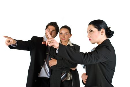 Three business people at meeting pointing  ,showing something to each other and have a conversation,white background Stock Photo - 4763629