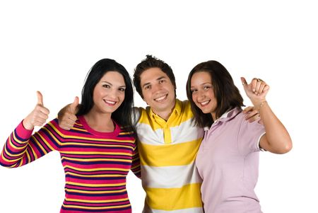 Three young happy friends giving thumbs-up sign  and showing happiness photo