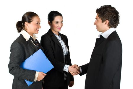 Three business people successful give handshake at meeting  ,one of the woman holding the blue folder with contract  Stock Photo