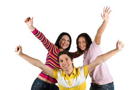 Happy friends with hands up concept of  successful and happiness  friendship isolated on white background Stock Photo - 4768295